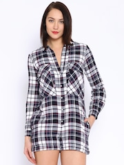 ONLY Grey & Navy Checked Playsuit