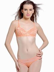 Lady Love Peach-Coloured Lace Lingerie Set LLSET4091