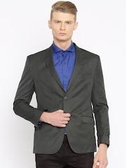 Theme Charcoal Grey Single-Breasted Formal Blazer