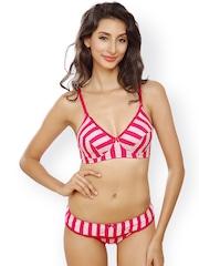 Lady Love Pink & White Striped Lingerie Set LLSET5015