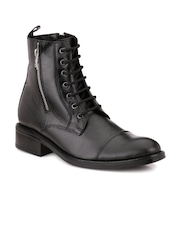 Mactree Men Black Leather Boots