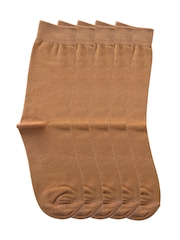 Tossido Men Set of 5 Brown Above Ankle-Length Socks