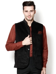 even Black Slim Fit Nehru Jacket