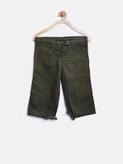 People Boys Dark Green 3/4th Cargo Shorts