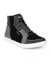 Provogue Men Black & Grey Leather Casual Shoes