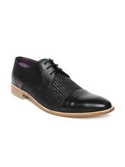 Louis Philippe Luxure Men Black Patterned Leather Semiformal Shoes