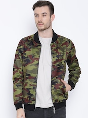 United Colors of Benetton Olive Green Printed Jacket