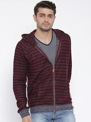 United Colors of Benetton Maroon & Navy Striped Hooded Sweatshirt