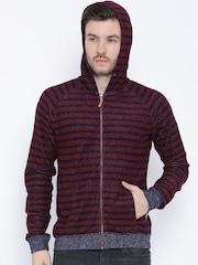 United Colors of Benetton Maroon Striped Hooded Sweatshirt