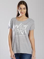 Tommy Hilfiger Grey Melange Printed T-shirt