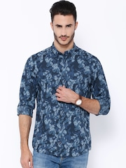 Tommy Hilfiger Blue Printed New York Fit Casual Shirt