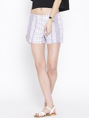 FOREVER 21 White & Purple Embroidered Shorts