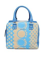 Hotberries Blue & Beige Printed Handbag