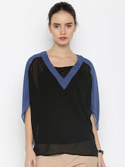 United Colors of Benetton Black & Blue Coloublock Polyester Sheer Top