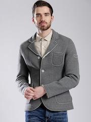 GAS Grey Melange Slim Single-Breasted Casual Blazer