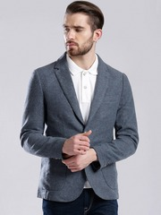 GAS Blue Woollen Single-Breasted Casual Blazer