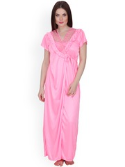 Secret Wish Pink Maxi Nightdress with Robe HC-168
