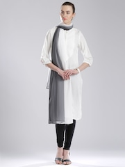W Grey & Off-White Striped Dupatta