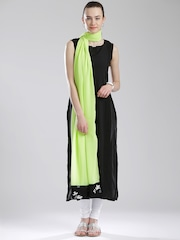 W Lime Green Dupatta with Printed Detail