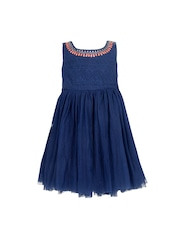 A Little Fable Girls Navy Fit & Flare Dress