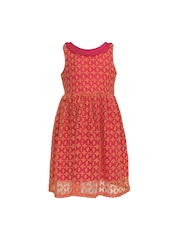 A Little Fable Girls Red Embroidered A-Line Dress
