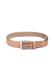 Harvard Men Brown Textured Genuine Leather Belt