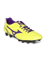 Mizuno Men Fluorescent Yellow Monarcida Leather Football Shoes