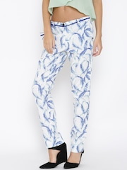 Pepe Jeans White Feather Print Casual Trousers