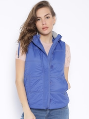 Pepe Jeans Blue Hooded Sleeveless Jacket