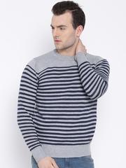 Pepe Jeans Grey Melange & Navy Striped Sweater