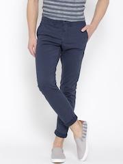 Jack & Jones Blue Printed Marco Slim Fit Casual Trousers