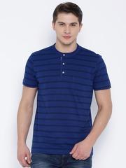 Arrow Sport Blue Striped Henley T-shirt