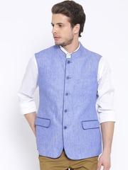 Van Heusen Blue Linen Nehru Jacket
