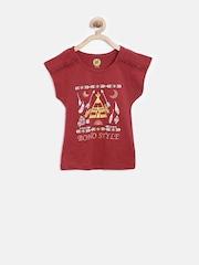 YK Girls Red Printed Top