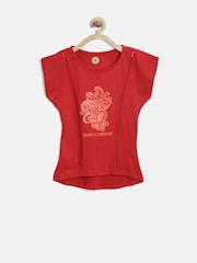 YK Girls Red Paisley Print Top