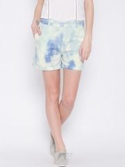 FOREVER 21 Blue & White Dyed Shorts