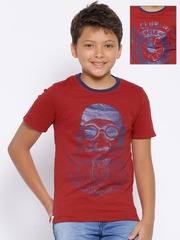 YK Boys Red Printed Reversible T-shirt
