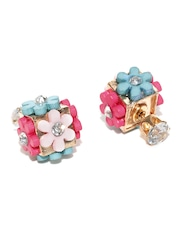 DressBerry Pink & Blue Floral Stone-Studded Double-Sided Stud Earrings