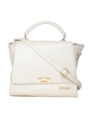 Lino Perros Cream-Coloured Satchel with Sling Strap