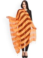 Aksara Orange Striped Dupatta