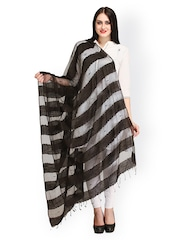 Aksara Black Striped Dupatta