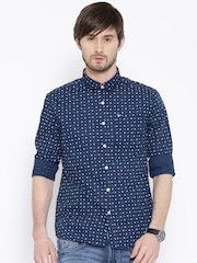 Flying Machine Navy Printed Casual Shirt