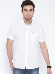 Flying Machine White Linen Casual Shirt