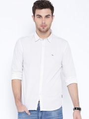 Flying Machine White Printed Casual Shirt