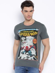 Flying Machine Grey Marvel Comics Printed T-shirt