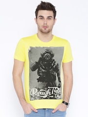 Flying Machine Yellow Printed T-Shirt