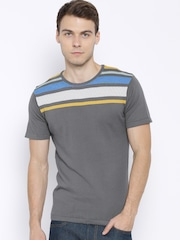 United Colors of Benetton Grey T-shirt with Striped Detail