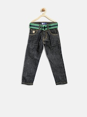 612 League Boys Navy Wrinkled Jeans with Belt