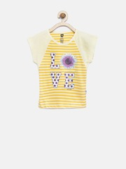 612 League Girls Yellow & Beige Floral Striped T-shirt