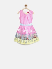 Tiny Girl Pink Printed Fit & Flare Dress